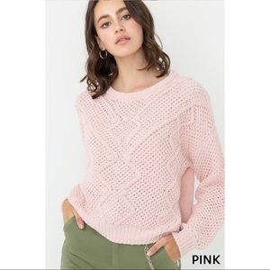 Long Sleeve Chunky Knit Pullover Sweater - Pink